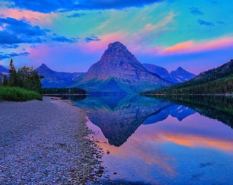 Glacier National Park Dawn at Two Medicine Lake Fine Art Giclee Print, Modern Wall Art Featuring Fine Art Nature Photography For Any Decor