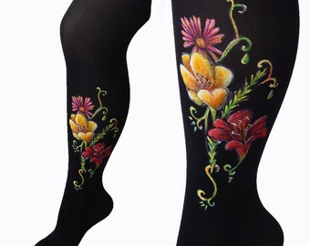 Flower Leggings, Colorful Leggings, Colorful Tghts, Flower Tights, Lily Flower, Wild Flower Leggings, Painted Leggings, Women's Tights