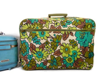 Vintage Suitcase, Retro Flower Power Overnight Bag Vintage FLOWER POWER Suitcase