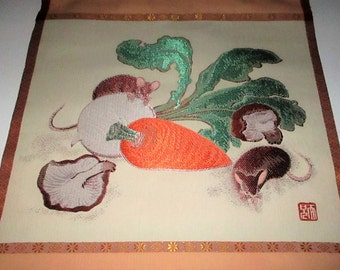 SALE Vintage Chinese Japanese Embroidered Scroll Mice Eating Vegetables Carrot Turnip Mouse Textile Art Asian Wall Hanging
