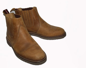 Vintage chelsea boots - Mens Boots - Ankle Boots - brown Leather Pull boots 7.5 mens 9.5 womens