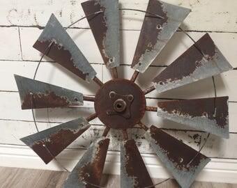 30 inch rusty windmill wall art with center cap- Farmhouse decor- fixer upper - vintage farmhouse- housewarming- Gift idea-wedding- decor