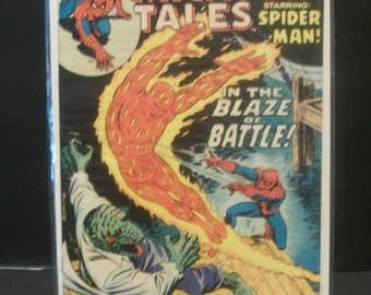 1975 Marvel Tales Starring Spider-Man #58  The Lizard, Human Torch  VG-VF Condition Vintage Marvel Comic Book Reprint Amazing Spider-Man #77