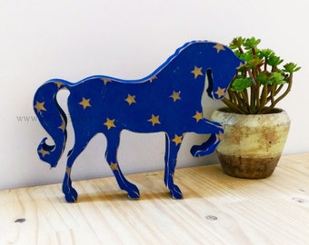 Wooden horse with gold stars - Freestanding horse - Rustic horse - horse figurine - horse decor