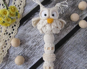 owl rattle baby safe toy childer cotton crochet baby toy rattle teething toy baby rattle gender neutral gift new baby toys for newborns