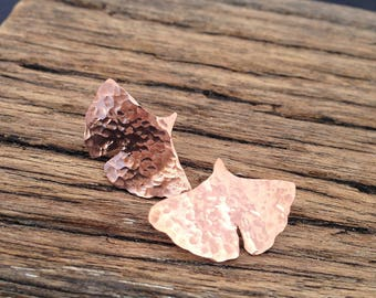 Handmade Copper and Silver Ginkgo Leaf Earrings