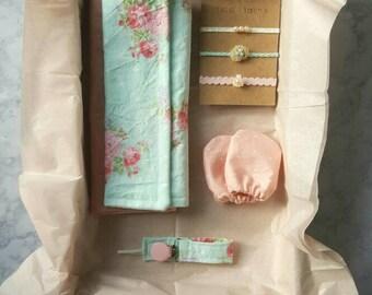 Baby shower gift set - modern - burp cloths - pacifier clip - tieback headbands - mittens - newborn - baby gift - baby shower - gift set