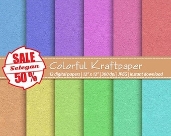 "SALE 5O% "" Colorful Kraftpaper "" Digital Paper, Scrapbooking, Paper, 12x12, Printable, Pattern, Kraft paper, Texture, Background"