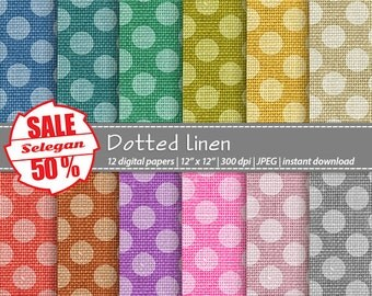 "SALE 50% "" Dotted Linen "" Digital Paper, Scrapbooking, Paper, 12x12, Printable, Pattern, Linen, Texture, Dot, Background"