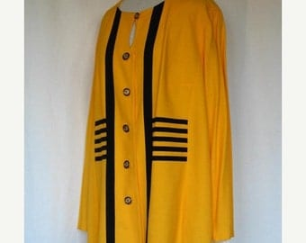 On Sale Vintage Blazer Bright Yellow and  Black Stripes