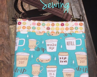 Coffee and Donuts Messenger Bag/Cross Body Bag