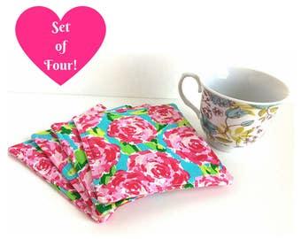 Fabric Coasters, Mug Rug, Set of Four Coasters, Housewarming Gift