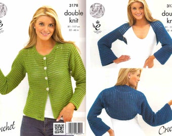 King Cole Crochet Pattern 3178~Cardigan & Shrug~DK~32-46""