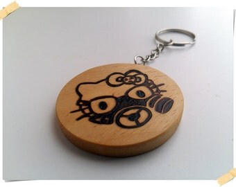 Hello Kitty Toxic wooden handmade round keychain, handcrafted pyrography design, bio friendly, gift idea, Hello Kitty, Wooden Keychain