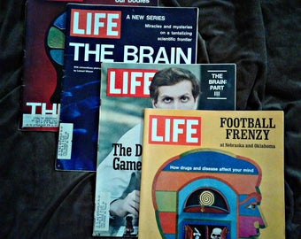 "Life Magazine 1971 ""The Brain""  Parts 1, 2, 3 & 4 Fascinating Pictures  Stories - Erma Bombeck Adelle Davis In Depth Look at Drug Effects"