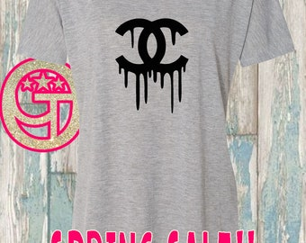 SALE XL Only - Grey Chanel Inspired slouchy tee. Limited quantities while they last. Dripping chanel