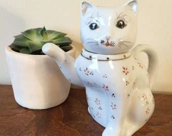 1970 Vintage Chinese Hand Painted Cat Individual Tea Pot - Made in China - Cute Kitty - Tea for One - Oriental Cat