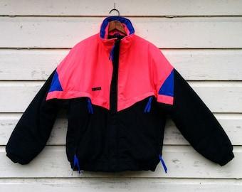 "Columbia Ski Jacket/Neon Columbia Coat/Ski Coat/80's Ski Jacket/Neon Pink Ski Coat/Size Mens L/28""Long/27""Chest/24""Sleeve/*FREE GIFT WRAP*"