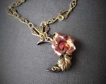 Moon Pendent-moon necklace-rose necklace-Swarovski-Polymerclay necklace- Beauty