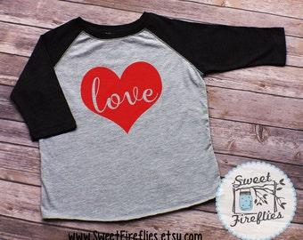 Toddler Valentine Shirt, Valentine Raglan, Custom Valentine's Day Shirt, Love Raglan Shirt, Heart , Valentine Shirt for Boys, Girls, Infant
