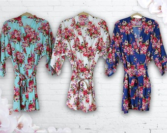 3 Floral COTTON Robes, Bridesmaid Robes set of THREE, Wedidng robe, Bride Robe, Monogrammed Bridesmaid Robes, Will You be My Bridesmaid Gift