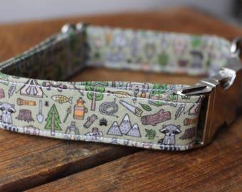 Dog Collar Camping, Camping Dog Collar, Wilderness Dog Collar, Summer Dog Collar, Hiking Dog Collar, Boy Dog Collar, Raccoon Dog Collar