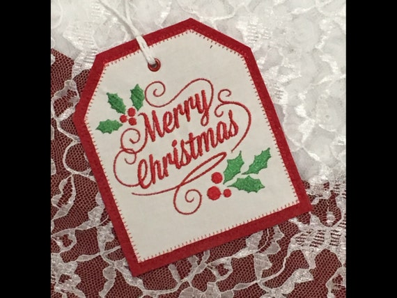 Personalized embroidered gift tag merry christmas stocking for Embroidered tags personalized
