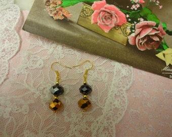 Gold Crystal Drop Dangle Earrings for pierced ears, Vintage Style, Gold Crystal Drop Earrings, Crystal Earrings