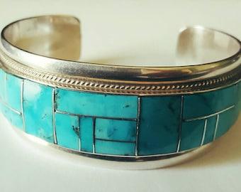 Vintage turquoise inlay cuff bracelet