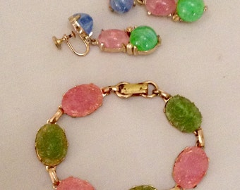 Retro Vintage CORO Signed Earrings in Excellent Czech Glass Paired w/ Gorgeous Bracelet In Pink, Green Carved Links