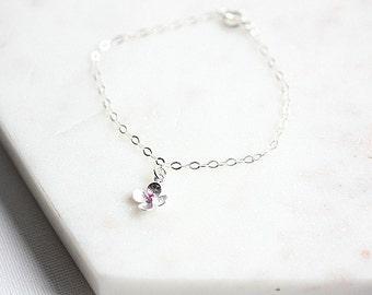 Sterling silver flower bracelet - Silver bracelet with flower charm - Flower bracelet in Sterling silver - Gift for her