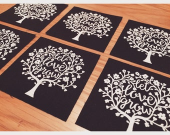 Screen Printed 'Let Love Grow' Papercut Design Patch