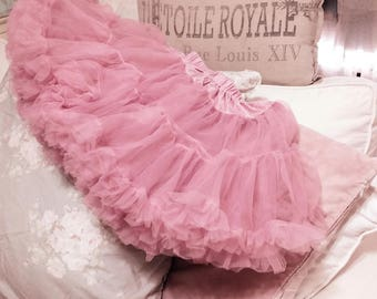 SOLD Gorgeous Vintage Shabby Chic Pink Crinoline Petticoat Skirt Ballerina Tutu