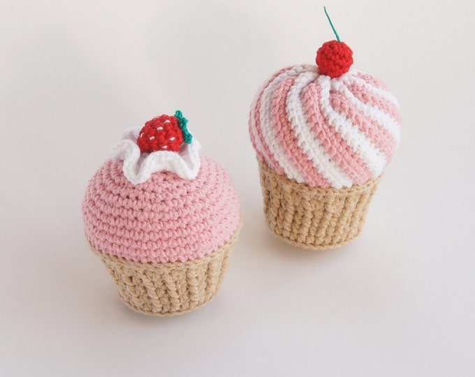 Strawberry Cherry Crochet Cupcake - Amigurumi- Play Food - Teething Toy - Learning toy - Baby gift - Pretend Play