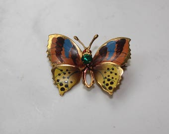 Vtg 70s Hand Painted Butterfly Brooch