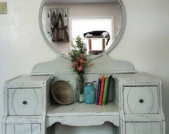 Refinished Antique Vanity Dresser-Milk Painted & Distressed