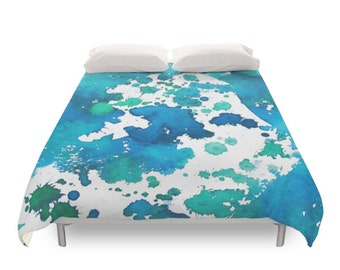 Watercolor Splash Duvet Cover, Bohemian Bedding, Paint Art, Hippie Gift, Blue Pattern, Abstract Paint, Colored Bed, Twin, Full, Queen, King