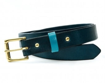 Teal & Blue Leather Narrow Belt, Full Grain Leather, Solid Brass Buckle