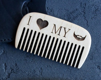 Christmas Sale Wooden Beard Comb Pocket Beard brush Engraved comb for Men Mustache comb Hair comb Dad gift for Him Grooming kit Beard care B