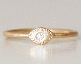Diamond Evil Eye Ring - Choose Band Width - Choose 14k OR 18k Eco-Friendly Recycled Gold