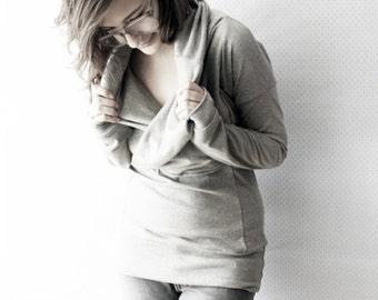 haut col en jersey bambou / haut d'allaitement / allaitement chemise fait sur commande / par replicca / taille S à XL / votre choix de couleur