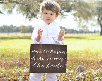 Uncle Here Comes the Bride Sign, Ring Bearer Sign, Flower Girl Sign, Wooden Wedding Signs Here Comes the Bride Sign, Here comes your girl