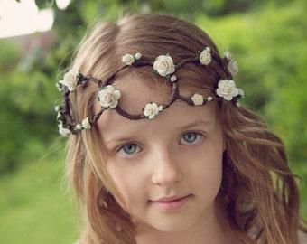 Elfenbein Boho Blume Krone - 10 Jahre bis zum Erwachsenen (Hochzeiten / Brautjungfern / Flowergirls)