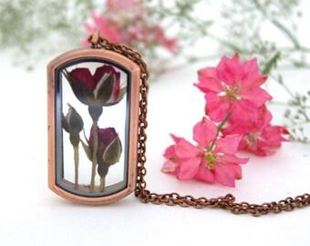 Real Rose necklace. Copper Locket necklace. Real flower jewellery, Rose necklace. Real rose jewellery. Gift for her. OCEAN PETALS DESIGN