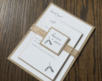 Eco-friendly Recycled Wedding Invitation - Rustic Maple Seed Pod Design - Kraft  & Ivory cotton with jute ribbon - deposit