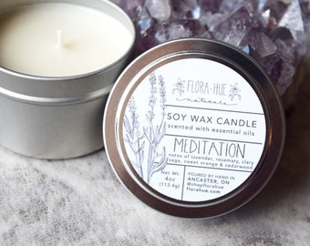 Meditation Soy Candle, 4oz. Scented with 100% Pure Essential Oils. Soy Wax, Vegan, Natural Candle, Altar