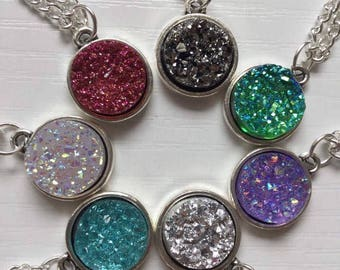 Druzy Necklace, Faux Druzy Necklace, Sparkle Necklace, Space Necklace, Fantasy Necklace, Fantasy Gift, Gift for Her, Birthday Gift