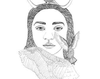 Woman Illustration, Ink Bird Drawing, Ink Woman Drawing, Wing Illustration, Bird Illustration, Ink Wing Drawing, Inked Woman, Inked Bird.
