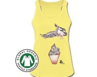 Women's Organic Tank Top, Organic Cotton. Cotton Top. Tee with Illustrated print. Women's Clothes. Organic Top. Bear, Vulture, Cupcake Print