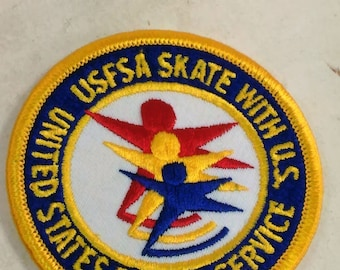 Patch/Glue On/United States Postal Service-USFSA Skate With U,S./Red White Blue/ Free Shipping Within the Cont. USA/Used (B)